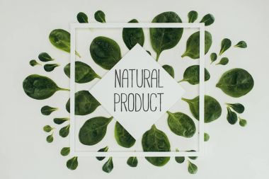 top view of beautiful fresh green leaves and natural product inscription on grey