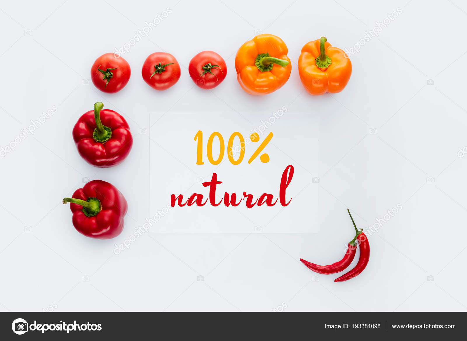 Top View Frame Vegetables Text 100 Natural Isolated White — Stock ...