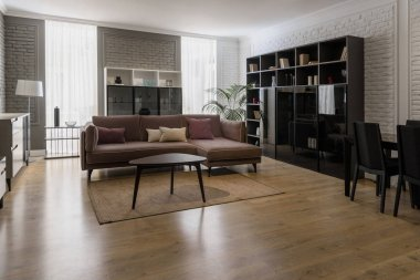 Modern renovated living room with stylish furniture