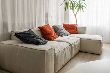 Red and grey pillows on cozy sofa in room