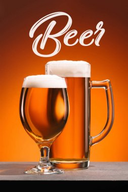 Close up view of arrangement of glasses of beer  and beer lettering on orange backdrop stock vector