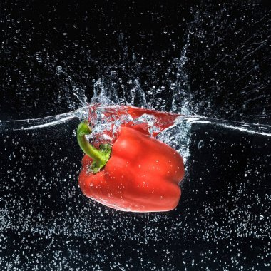 close up view of ripe red bell pepper in water isolated on black