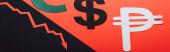 Panoramaaufnahme von Dollar- und Peso-Symbolen und Rezessionspfeil auf rotem und schwarzem Hintergrund, geteilt durch eine abfallende Linie