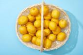 horní pohled na zralé žluté citrony v proutěném koši na modrém pozadí