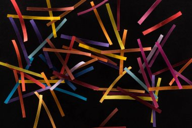 Top view of multicolored abstract lines scattered isolated on black background, connection and communication concept stock vector