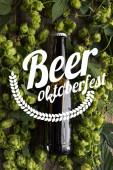 Draufsicht auf frisches Bier in Flasche mit grünem Hopfen auf Holzoberfläche mit Bier Oktoberfest-Illustration