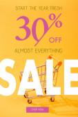 prázdný malý nákupní košík na jasně oranžovém pozadí s 30% sleva na prodej ilustrace