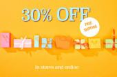 top view bevásárló táskák és ajándékok fényes narancssárga háttér 30% off eladó illusztráció