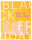 fehér eladó felirat fényes narancs háttér fekete péntek, akár 75 százalékos illusztráció