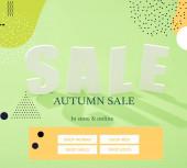Weiß Verkauf Schriftzug mit Schatten auf grünem Hintergrund mit Herbst Verkauf Illustration