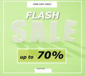 Fényképek fehér eladó betű árnyékkal zöld háttér flash eladó, akár 70 százalékos illusztráció