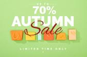 vrchní pohled na dekorativní barevné nákupní tašky na zeleném pozadí s 70 procent sleva na podzim prodej ilustrace