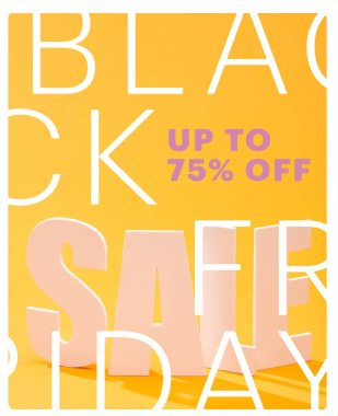 White sale lettering on bright orange background with black Friday, up to 75 percent illustration stock vector