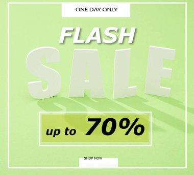 White sale lettering with shadow on green background with flash sale, up to 70 percent illustration stock vector