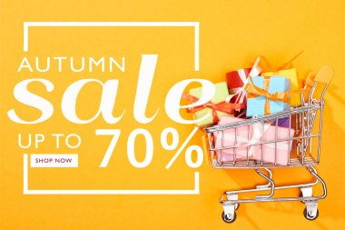 Top view of shopping cart with presents on bright orange background with autumn sale, up to 70 percent illustration stock vector