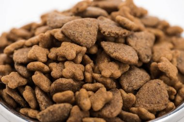 Close up view of dry pet food isolated on white stock vector