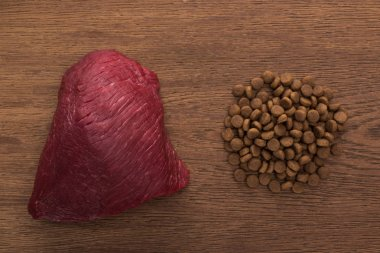 top view of dry pet food near raw meat on wooden table