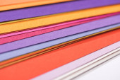close up of colorful, bright and blank papers