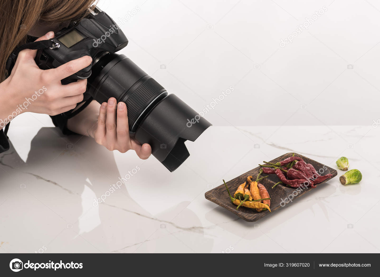 Cropped View Female Photographer Making Food Composition Commercial Photography Taking Stock Photo By C Vadimvasenin 319607020