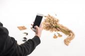 vágott kilátás a kereskedelmi fotós fényképezés összetételét flóra és ékszerek okostelefon fehér