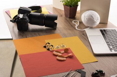 Composition with accessories for photo shooting with camera and laptop stock vector