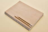 papír prázdný zápisník s tužkami na béžovém pozadí