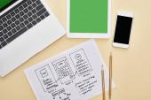 vrchní pohled na gadgets v blízkosti webové stránky design šablony a notebooku s adaptivní design nápisy na žlutém pozadí