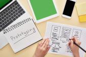 oříznutý pohled designéra držícího šablonu designu webových stránek v blízkosti miniaplikací a notebooku s prototypovým písmem na žlutém pozadí