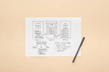 Top view of website design template, felt-tip pen on beige background stock vector