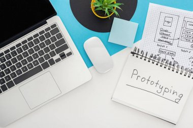 top view of laptop, computer mouse, plant, website design template, notebook with prototyping lettering on abstract geometric background