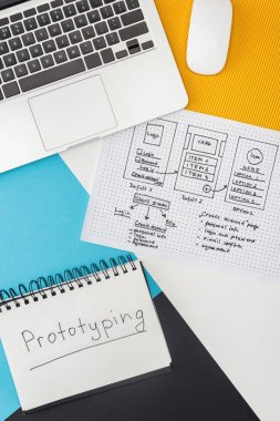 top view of notebook with prototyping lettering, laptop, computer mouse and website design template on abstract geometric background
