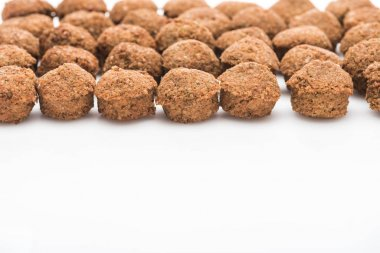 Close up view of fresh cooked falafel balls on white background with copy space stock vector