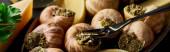Nahaufnahme köstlicher gekochter Escargots mit Zitronenscheiben auf Teller mit Gabel, Panoramaaufnahme