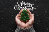 oříznutý pohled na ženu držící pečené vánoční stromeček cookie v rukou s veselou vánoční ilustrací