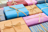 Photo wrapped and colorful presents with bows