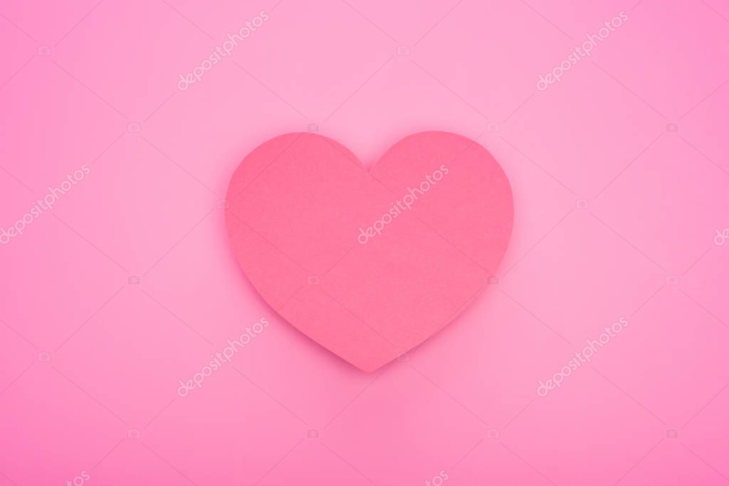 Top view of empty paper heart isolated on pink stock vector