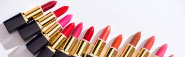 Top view of assorted lipsticks in luxury tubes on white background, panoramic shot stock vector