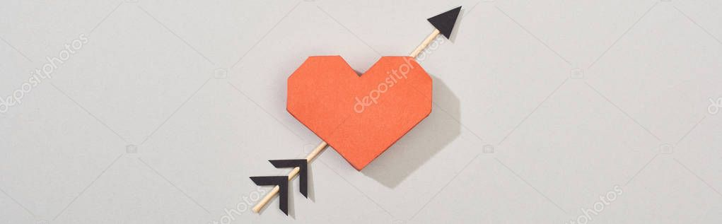 Top view of paper heart with arrow on grey background, panoramic shot stock vector