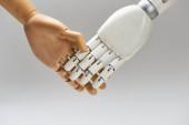 Fa baba és robot kézfogás elszigetelt szürke