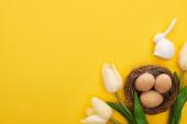 vrchní pohled na tulipány a kuřecí vejce v hnízdě v blízkosti velikonočního zajíčka na barevném žlutém pozadí