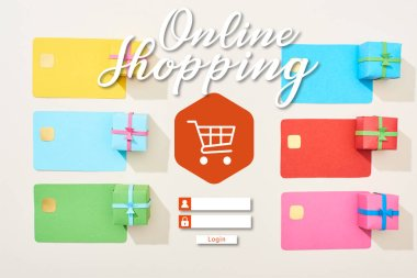 Top view of multicolored empty credit cards and gift boxes on white background with online shopping illustration stock vector