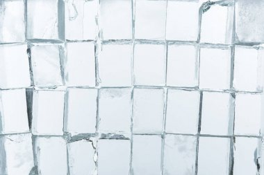 Top view of transparent clear square ice cubes on mirror stock vector