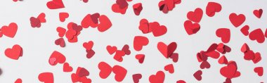 Seamless pattern of red hearts on white background, panoramic shot stock vector