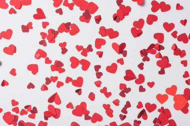 Seamless pattern of red hearts on white background stock vector