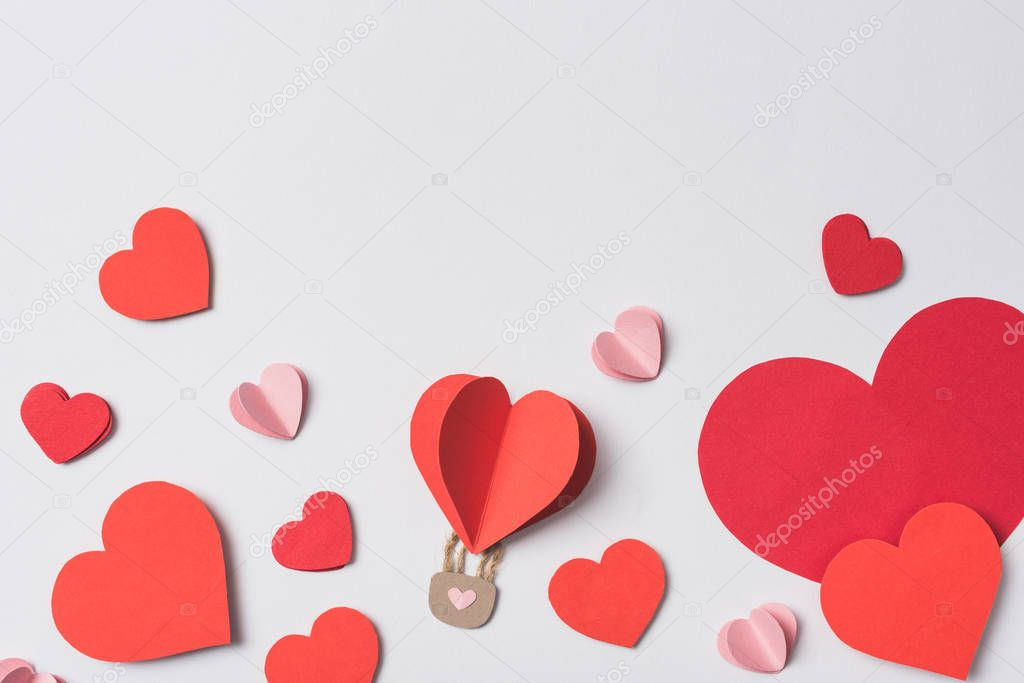 Top view of red hearts with lock on white background stock vector