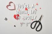 Horní pohled na papír ve tvaru srdce se šipkami a nůžkami na šedém pozadí s vámi je spousta krásných nápisů