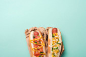top view of two yummy hot dogs in paper on blue