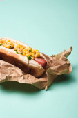 Fotografie yummy hot dog with corn in paper on blue