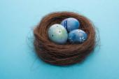 Fényképek Közelkép a húsvéti tojásokról a kék fészekben