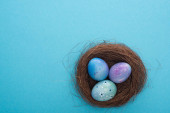 Top view of nest with purple Easter eggs on blue background